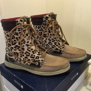 High Top Cheetah Sperry Boots